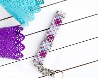 Plum Plaid Dog Collar - Female Dog Collar - Martingale Chain Collar - Dog Collar - Check Chain Collar - Metal buckle - Dog Accessory