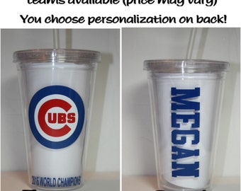 CHICAGO CUBS 2016 World Series Champions 16 oz Personalized Commemorative Plastic Insulated Tumblers perfect for Christmas gifts!