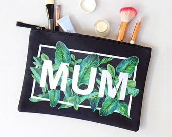 Mother's Day Wash Bag, Gift for Mum, Mother's Day Gift, Make Up Bag, Make Up Holder, Wash Bag, Tropical Leaves, Mum, Make Up Bag for Mum