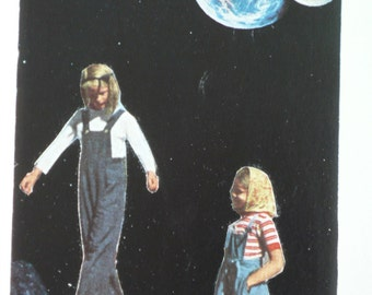 Space Art, Cosmic Collage, Outer Space Art, Children Playing Art, Little Girls Collage, Other Worlds, Retro Space Art, Mid century Kids