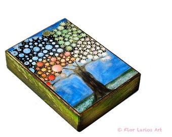 Vier-Jahreszeiten-Baum - ACEO Giclee Druck auf Holz (2,5 x 3,5 inch) Volkskunst von FLOR LARIOS aufgezogen