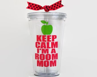 Keep Calm I'm a Room Mom acrylic tumbler, Room Mom Gift, Room Mom Cup, Room Mom tumbler, Keep Calm I'm a Room Mom acrylic cup, Room Mom cup