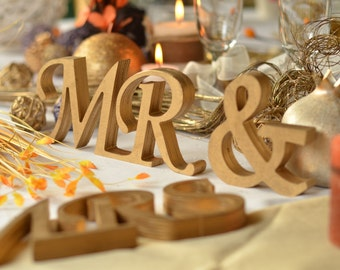 Mr and Mrs Wedding table signs set. Wedding signs. Mr and Mrs. Wooden letters. Wedding decoration gold. Signs Mr and Mrs. Wedding Mr and Mrs