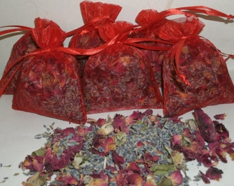 6 lavender /  Roses Sachets, fragrant lavender buds and Red rose sachets, FREE SHIPPING
