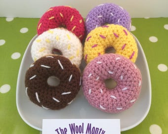 Crochet Doughnuts - cute desk buddy or play food donuts