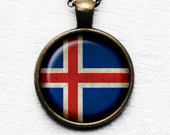 Iceland Icelandic Flag Pendant & Necklace