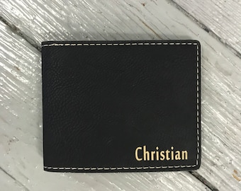Personalized Wallet with Inside Quote, Monogrammed Leatherette Wallet, Engraved Wallet, Gifts for Men, Father of the Bride, Groomsmen Gifts