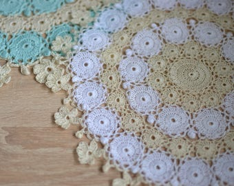 Crochet doily Lace doily  Cotton doily Crocheted doily Round doily Flowers doily Round crochet doily Crochet doilies  Table decor