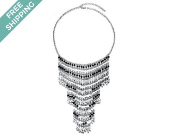 Intricate Multi-layered Silver Necklace with Black & White Beads