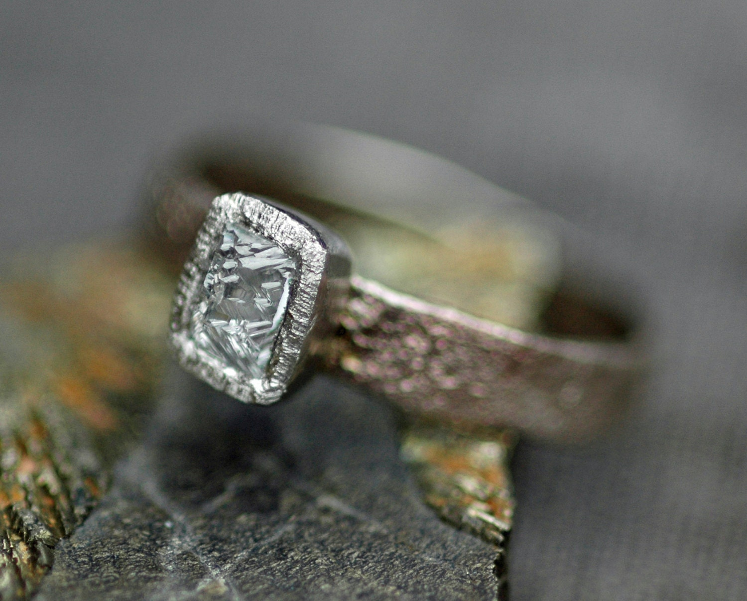 Sawn Australian Diamond on Hand Forged Recycled Gold Ring Custom