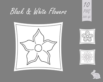 Cute Black, White and Grey / Gray Line Flowers Clip Art, Clipart, Images, Graphics, Cards, Scrapbooking, Design