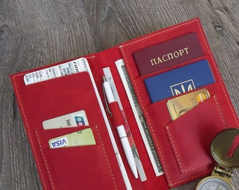 Leather travel wallet/leather passport holder/Monogramed Leather travel wallet/boarding pass/2 passport holder/leather two passports holder