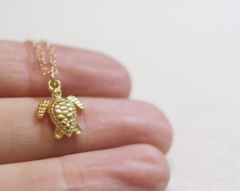 Tiny Turtle Necklace   Gold Turtle Necklace