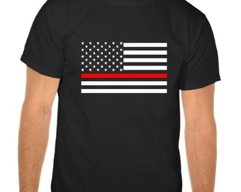 Firefighter thin red line American Flag Shirt