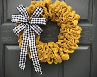 Small Burlap Wreath, Yellow Burlap Door Wreath, Small Door Wreath, Gingham, Yellow Black, Cute Wreaths, Door Wreaths Small, Gift for Her