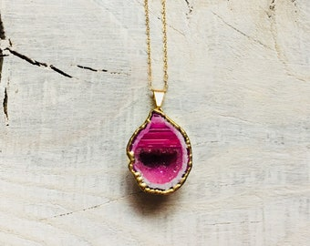 Pink Agate Necklace- Pink Druzy Neckace- Geode Half Necklace- Druzy Necklace- Gold Necklace- One of a Kind
