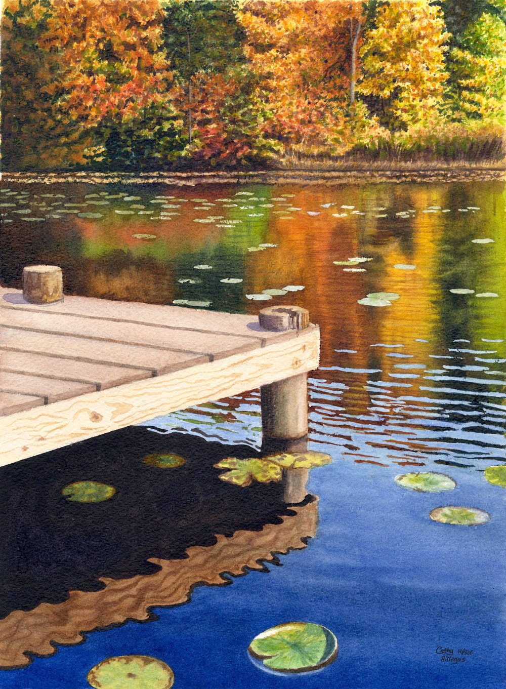 Autumn Lake Landscape Watercolor Painting Print By Cathy