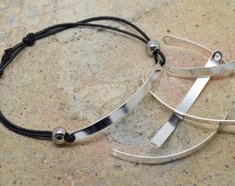 5 connectors rectangle silver bracelet