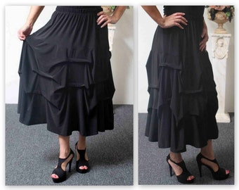 ComfyPlus Designer Lagenlook Plus size skirt , Addition to our Travel Line with side pockets