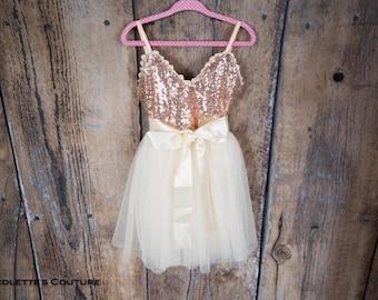 Rose Gold Flower Girl Dress, Sash Belt set, Rose Gold sequin dress, Ivory Tulle Cream Wedding, Gown,  glitter, Ivory tutu dress