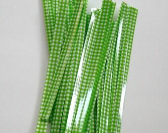 Lime Green Gingham Twist Ties - set of 25
