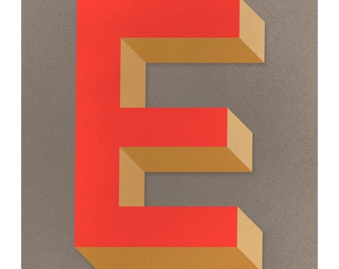 The Letter E, Original Art Print, Typography, Alphabet, Monogram, Red Orange, Antique Gold