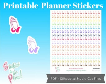 Prayer Hands | Colorful | Deco | Planner Stickers | for use with EC vertical Life Planner | Printable Planner Stickers | Free Cut Lines