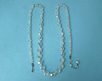 Necklace Faceted Crystal Beads Aurora Borealis Extra Long Vintage c. 1950s