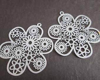 2 flower prints grey metal 46 mm