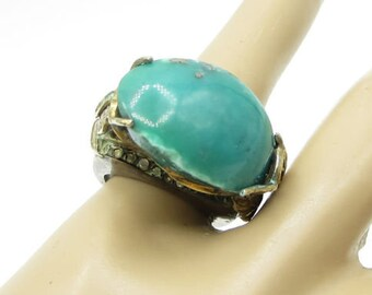 Vintage 925 silver - gemstone wrapped floral leaves 2-tone ring sz 6 - r1153
