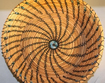 Ocean Waves Pine Needle Basket- First Place