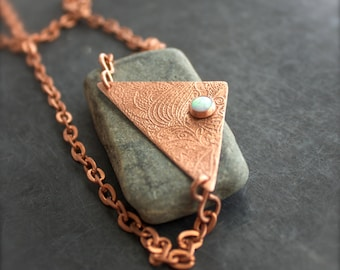 White Opal Stone Pendant Necklace - Etched Copper Metalwork Gemstone Geometric Triangle Floral Swirl Bohemian Jewellery