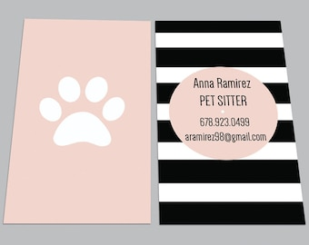 Pet sitting card etsy custom printed cards 100 full color modern dog walker trainer groomer business card pet sitter calling contact loyalty punch paw print colourmoves