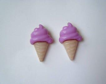 ♥ Purple ice cream cone earrings