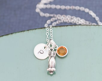 Owl Necklace Small Owl Charm Jewelry Owl Sterling Silver Owl Gift • Bird Necklace Tiny Initial Charm • Girls Owl Little Hoot Owl