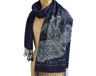 Stadt von Boston Karte Schal, 1814 Boston Massachusetts Karte Leinen-Gewebe Pashmina. Aus Boston Geschenk, Boston-Sport-Fan, Boston Hochzeitsgeschenk