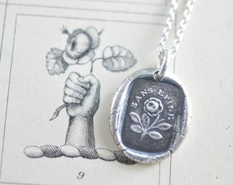 a rose without thorns wax seal necklace - SANS EPINE - French rebus - silver antique wax seal jewelry