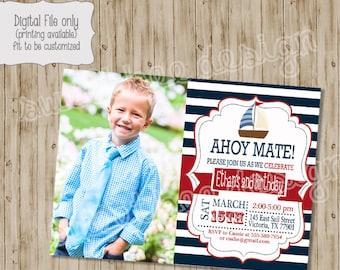 Nautical Birthday Invitation, Nautical Photo Invitation, Nautical Birthday, Sail Boat Invitation, Boy Birthday Invitation, Nautical