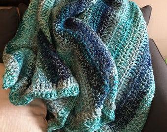 Blanket, Crochet Blanket, Blue Crochet Blanket, Crochet Afghan Throw