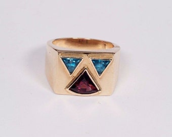 14K Yellow Gold Mens Garnet and Blue Topaz Ring, Size 8