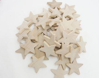 "50 Traditional 2 inch (2"") wooden stars, 2"" x 1/4"" wood star, unfinished DIY"