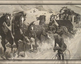 Poster, Many Sizes Available; Right Of The Road Remington'S The Right Of The Road (1900),  Bicyclist Stagecoach