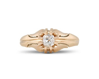 Antique Victorian Diamond Solitaire Ring, Vintage 14k Yellow Gold Diamond Ring, Victorian Solitaire Diamond Wedding Ring
