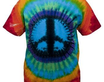 Tie Dye Rainbow Peace Sign T Shirt