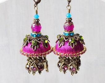 Tassel earrings, Pink Jhumka, Jhumki earrings, Jhumka tassels, gypsy earrings, colorful earrings, unique gift, unusual earrings, silk jhumka