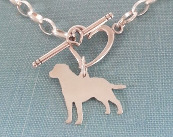 Labrador Retriever Dog Chain Bracelet, Lab Sterling Silver Personalize Pendant, Breed Silhouette Charm, Rescue Shelter, Birthday Gift