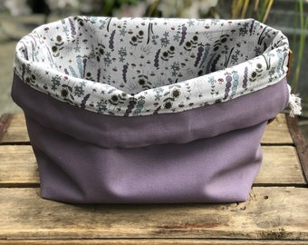 Lavender Purple Haze Floral Knit & Crochet Project Ditty Bag Canvas Cotton Leather Finger Loop Strap Drawstring Tote Bucket