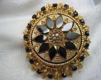 Vintage Large Florenza Black Onyx Stones Brooch