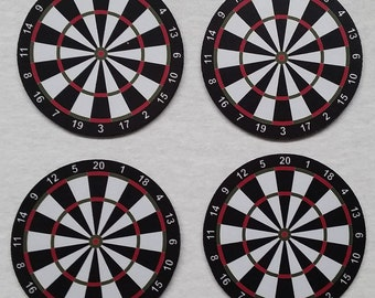 Set of 4 Dart Board Coasters - 4 inch Round - Rubber with Polyester
