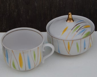 Soviet Vintage Coffee Tea Cup and Sugar Bowl Set Russian Design Ceramic Tableware USSR era 1970 s.